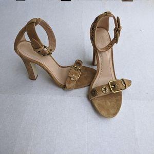 Coach Elizabeth tan Suede Block Heel Sandal